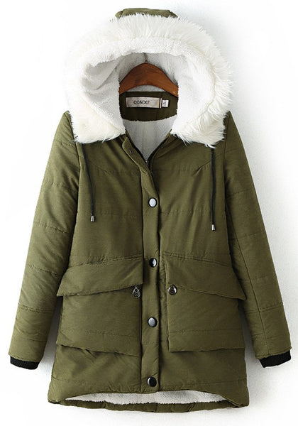 Army Green Pockets Buttons Drawstring Faux Fur Hooded Long Sleeve Padded Coat