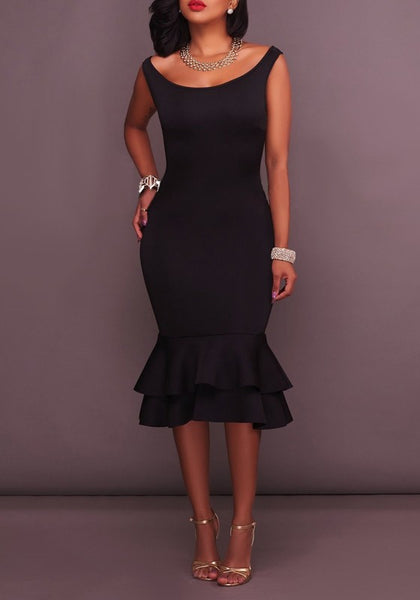 Black Ruffle Falbala Trumpet Sleeveless Homecoming Party Elegant Midi Dress