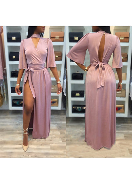 Pink Sashes Cut Out Tie Back Side Slit Backless Lace-up Party Maxi Dress
