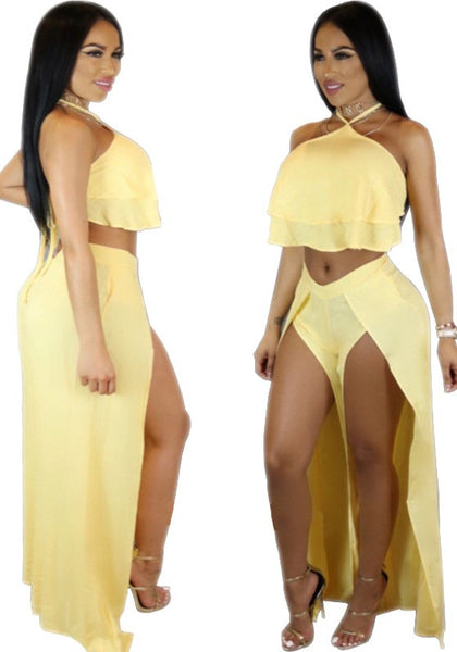 Yellow Tie Back Backless Side Slit Halter Neck Two Piece Wide Leg Pants
