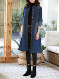 Blue Patchwork Belt Single Breasted Turndown Collar Fashion Jeans Outerwear