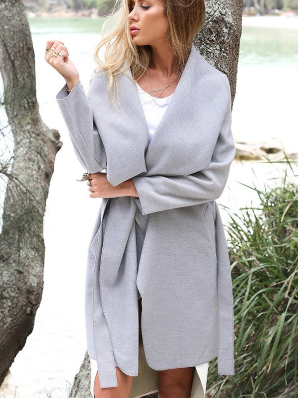 New Grey Plain Pockets Belt Turndown Collar Going out Casual Coat