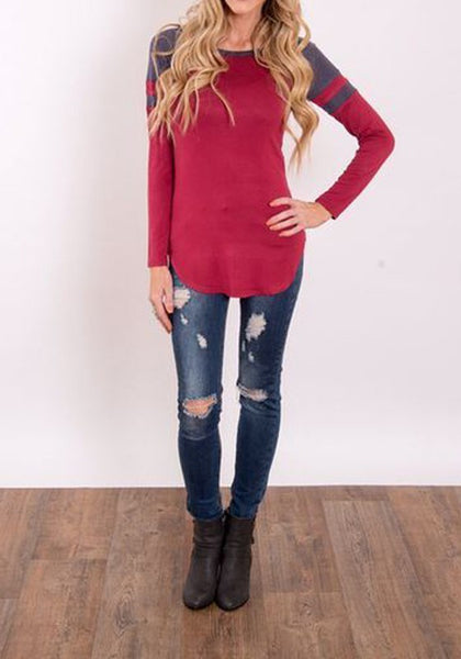 Red Patchwork Irregular Round Neck Long Sleeve T-Shirt