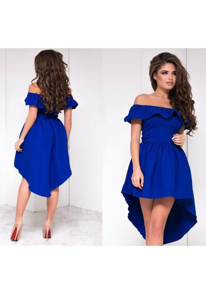 Blue Irregular Ruffle Off Shoulder Swallowtail Zipper Boat Neck Party Midi Dress