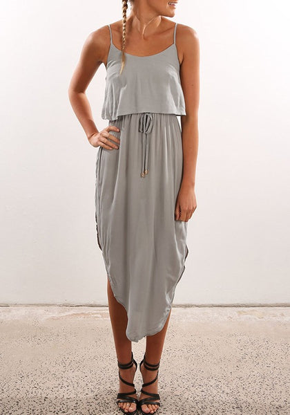 Grey Irregular Drawstring Condole Belt Round Neck Fashion Midi Dress