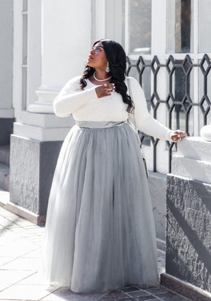 Grey Grenadine Pleated High Waisted Plus Size Fluffy Puffy Tulle Homecoming Adorable Tutu Long Skirt