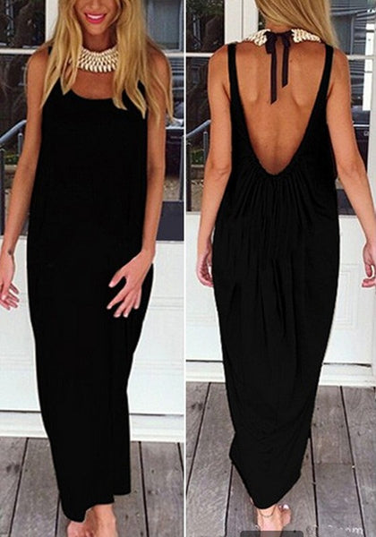 Black Plain Draped Backless Round Neck Maxi Dress
