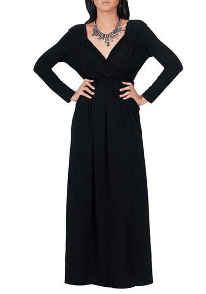 Black Draped V-neck Long Sleeve Plus Size Casual Maxi Dress