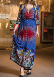 Sapphire Blue Floral Single Breasted V-neck Fashion Maxi Dress