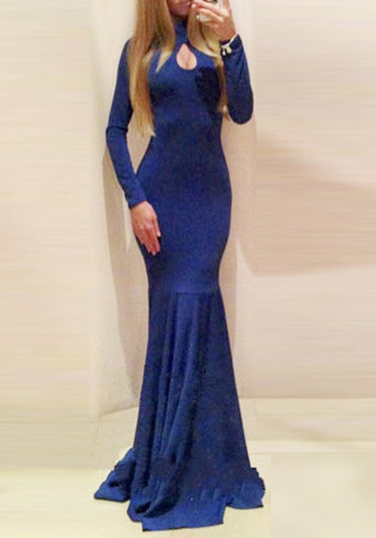 Navy Blue Backless Long Sleeve Round Neck Fashion Maxi Dress
