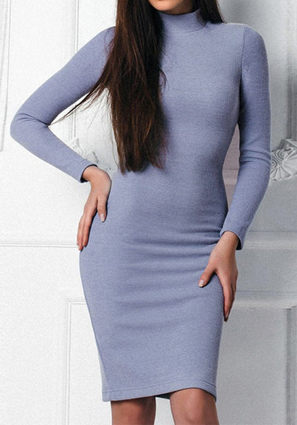 Blue Bodycon High Neck Long Sleeve knitted Midi Dress