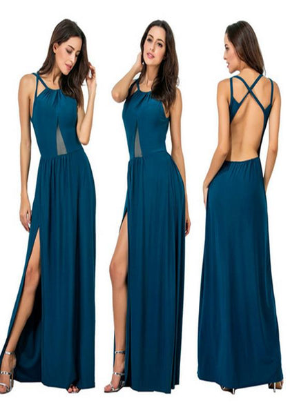 Royal Blue Draped Backless Cross Back Slit Elegant Bridesmaid Wedding Gowns Party Dress