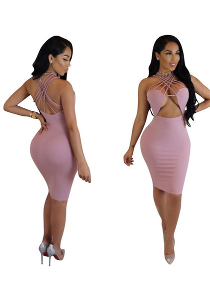 Pink Cross Back Cut Out Backless One Piece Fashion Midi Dress