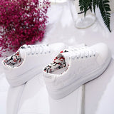 Silver Embroidery Round Toe Flat Casual Shoes