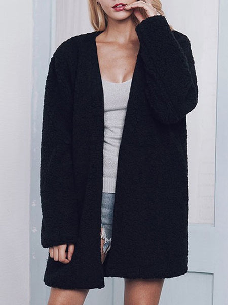 Black V-neck Faux Fur Long Sleeve Suede Casual Cardigan Coat
