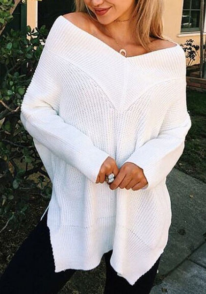 White Off Shoulder Backless Side Slit Long Sleeve Casual Pullover Sweater