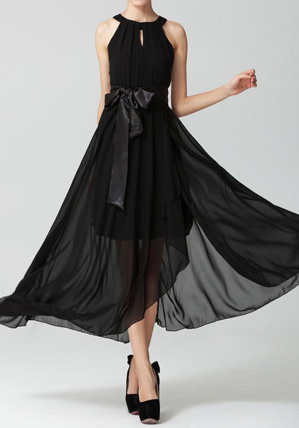 Black Buttons Bowknot Irregular Hollow-out High-low Sleeveless Fashion Maxi Dress