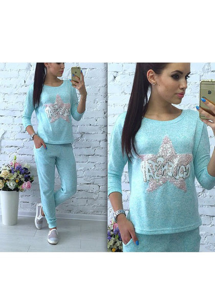Blue Letter Sequin Pockets Casual Long Jumpsuit