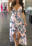 Pink Floral Condole Belt Irregular Sashes Plunging Neckline Maxi Dress