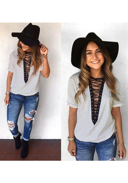 Grey-Black Patchwork Hollow-out Deep V-neck Short Sleeve Casual T-Shirt