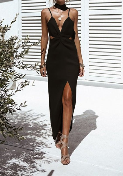 Black Spaghetti Strap Cut Out Backless Plunging Neckline Sleeveless Maxi Dress