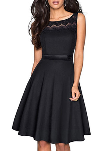 Black Patchwork Lace Pleated Bodycon Elegant Party Midi Dress
