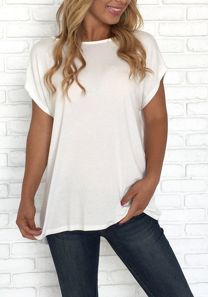 White Cross Back Cut Out Round Neck Fashion T-Shirt