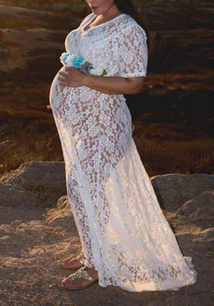 White Floral Lace Draped V-neck Maternity Photoshoot Baby Shower Maxi Dress With Belt