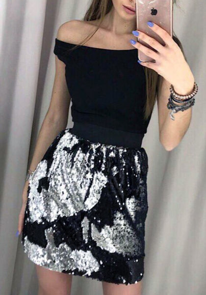 Black Patchwork Sequin High Waisted Turn Colors Fashion Skirt