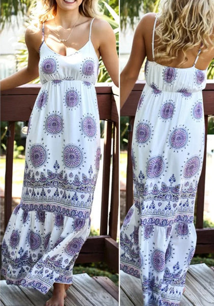 White Floral Spaghetti Strap Off Shoulder Backless Bohemian Beach Maxi Dress