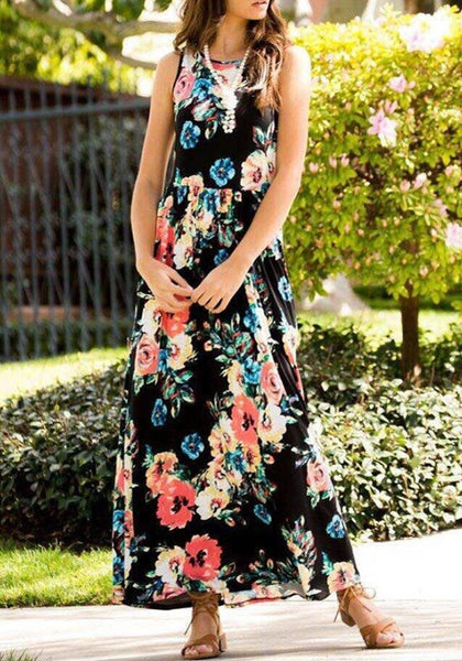 Black Floral Round Neck Sleeveless Fashion Maxi Dress