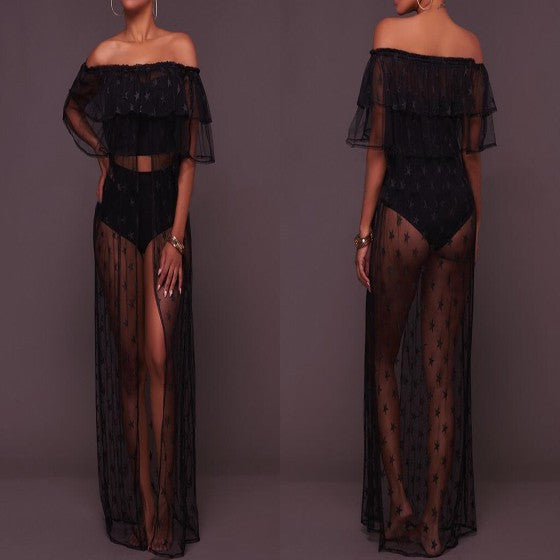 Black Star Print Cascading Ruffle Grenadine Slit ClubWear Maxi Dress