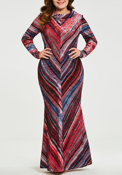 Red Striped Mermaid Plus Size Long Sleeve Formal Evening Party Elegant Maxi Dress