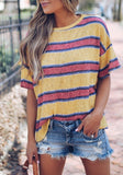 Yellow Striped Print Side Slit Elbow Sleeve Casual T-Shirt