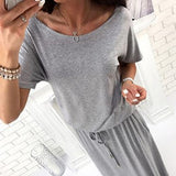 Grey Plain Sashes Pockets Round Neck Casual Maxi Dress