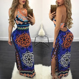 Dark Blue Tribal Floral Print Backless Halter Neck Slit Vintage Maxi Dress