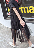 Black Patchwork Lace Grenadine 2-in-1 Short Sleeve Maxi Dress
