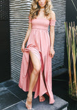 Pink Side Slit Off Shoulder Backless Bandeau Beauch Maxi Dress