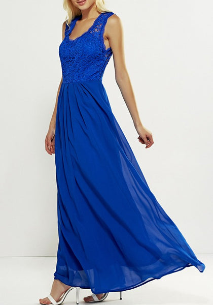 Blue Patchwork Lace V-neck Party Dacron Maxi Dress