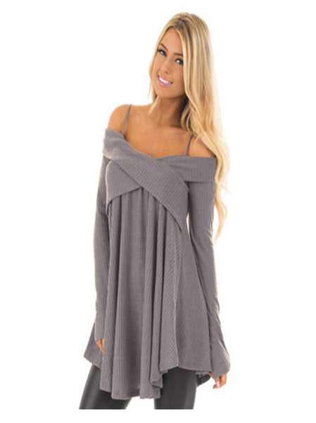 Grey Shoulder-Strap Long Sleeve Casual Sweater