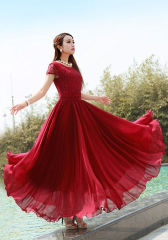 Burgundy Lace Pleated High Waisted Elegant Bohemian Chiffon Maxi Dress