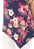 Dark Blue Floral Print Buttons Irregular Round Neck Casual Vest