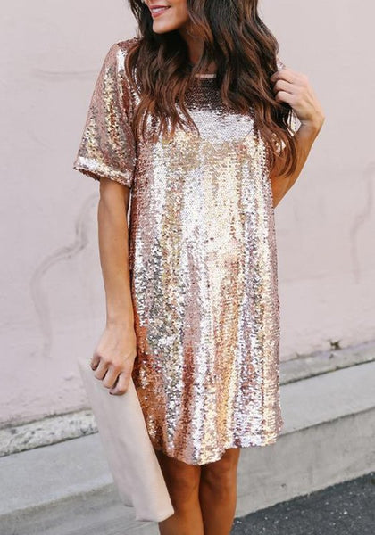 Rose Golden Sequin Glitter Draped Round Neck Short Sleeve NYE Party Midi Dress