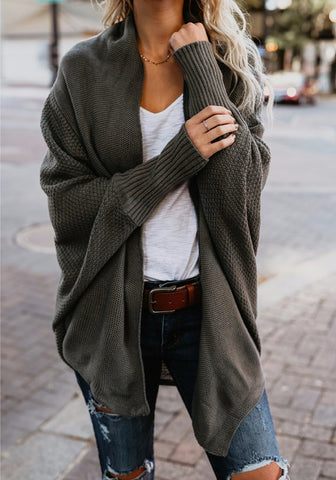 Dark Green Irregular Turndown Collar Long Sleeve Fashion Cardigan Sweater