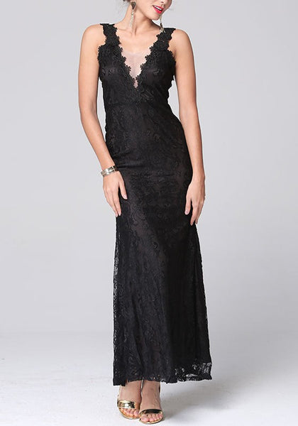 Black Patchwork Lace Hollow-out Plunging Neckline Maxi Dress