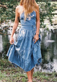 Blue Embroidery Cross Back Sashes Denim Mexican Spaghetti Strap Bohemian Maxi Dress