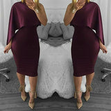 Purple Irregular Asymmetric Shoulder Ruffle Fashion Midi Dress