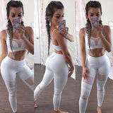 White Patchwork Grenadine Comfy Fashion Long Legging