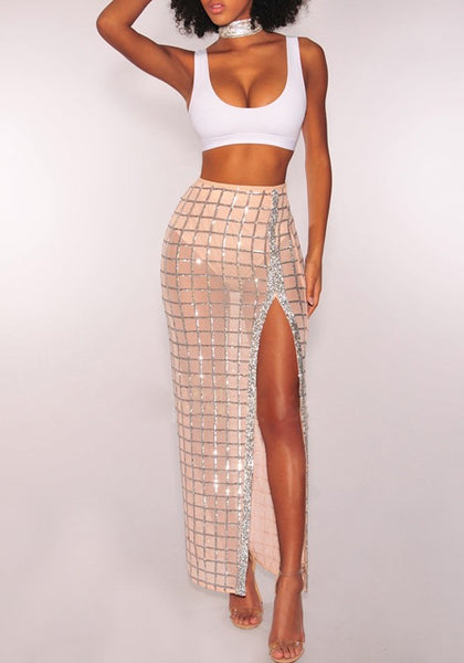 White Plaid Grenadine Side Slit Two Piece Crop Deep U-neck Party Maxi Dress