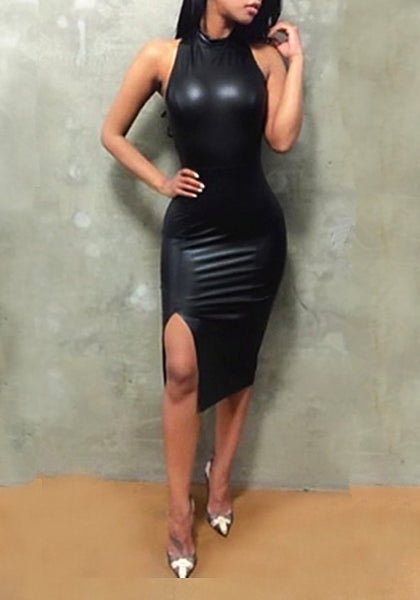 Black Cross Back Backless Cut Out Side Slit PU-Leather Bodycon Club Midi Dress